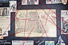 30th birthday, Sherlock, crime scene decor, map of London, British party theme