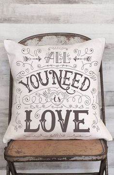 Pillow Cover All Your Need is Love Calligraphy Cover