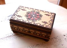 boxes decorated with pyrography  | Pyrography Art Wooden Box by seedwingwonder on Etsy, $18.00