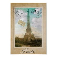 Paris, Vintage Postcard Poster, Eiffel Tower, fine art print.