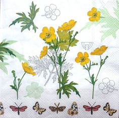 4 Vintage Table Paper Napkins Party Lunch Decoupage Decopatch Yellow Flowers