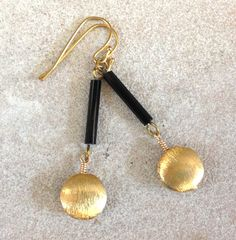 Vintage Black Glass Tube Bead and Gold Dangle by BijouxJewellry, $25.00