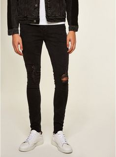 fbfd7d15 Mens Washed Black Extreme Rip Spray On Jeans Trouser Jeans, Trousers, Pants,  Men's