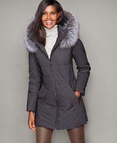 05f4496558e The Fur Vault Fox-Fur-Hood Quilted Puffer Coat Macy s Black Fur Coat