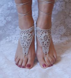 Crochet Barefoot Sandals, Light Gray Barefoot sandles