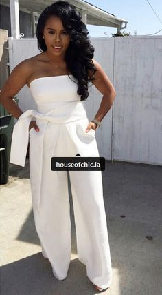 @shesofly on instagram All White Outfit, White Outfits, Classy Outfits, Mode Wax, All White Party, Brunch Outfit, White Jumpsuit, Style And Grace, African Women