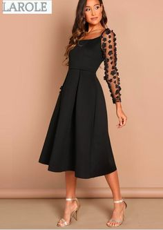 Night Out Black Contrast Mesh Appliques Pleated Square Neck Knee Length Dress Autumn Lady Workwear Women Dresses Party Dresses For Women, Fall Dresses, Poses Modelo, Short Frocks, Robes Midi, Looks Black, Mesh Long Sleeve, Mode Outfits, Boho Dress