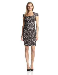Jax Women's Cap Sleeve Lace Contrast Lining Dress,...($49.99)