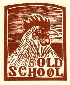 Old School linoleum block print by ericaharris on Etsy Gravure Illustration, Handpoke Tattoo, Linoleum Block Printing, Chicken Art, Wood Engraving, Tampons, Linocut Prints, Woodblock Print, Wood Print