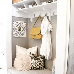Have a coat closet in your foyer that is just a place to fill with junk... Stop by our blog next week to see how I turned mine into a beautiful built in mudroom. This pic from House of Smiths was my inspiration. Www.shopphomesblog.com