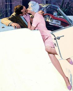 The Kiss by Morgan Kane, 1959. Classic car kisses are probably some of the best kisses. :p