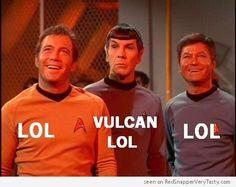 Star Trek's Captain Kirk, Bones McCoy and Spock share a nice LOL.