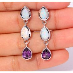"NEW ARRIVED ! FASHION & ELEGANT & WHOLESALE & RETAIL FOR WOMEN JEWELRY WHITE FIRE OPAL AMETHYST SILVER EARRINGS 1 3/8"" OH2480"