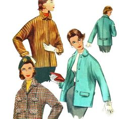 1950s  Simplicity 1276 Misses Topper Jacket  Car Coat Kimono Sleeves womens vintage sewing Pattern by mbchills