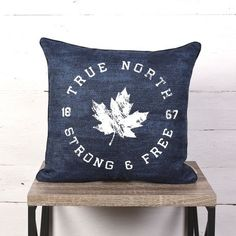 Canadiana Decorative Cushion- True North Strong And Free Blue X Red Pillows, Throw Cushions, Minimalist Scandinavian, Patch Design, True North, Penny Rugs, Decorative Cushions, Boy Room, Design Trends