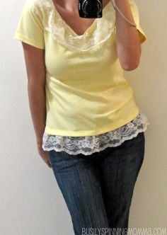 Lacey New top (a refashion tutorial) - maybe with Haley's stained pink shirt and hot pink ruffles