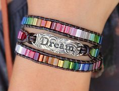 Dream leather wrap bracelet by HappyGoLicky Jewelry. Boho Jewelry Boho Bracelet Boho Leather Wrap Bracelet Boho Chic Jewelry Leather Bohemian Bracelet Hippie Bracelet Boho Dream Bracelet Dream leather wrap b Gypsy Bracelet, Hippie Bracelets, Hippie Jewelry, Wrap Bracelets, Gold Bracelets, Jewlery, Diy Jewelry, Beaded Jewelry, Jewellery Sale