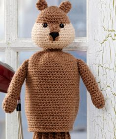 Gopher Golf Club Cover Free Crochet Pattern from Red Heart Yarns