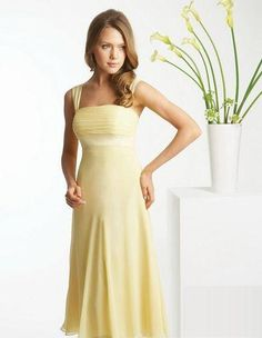 Pale yellow chiffon bridesmaid dress. Tea length.
