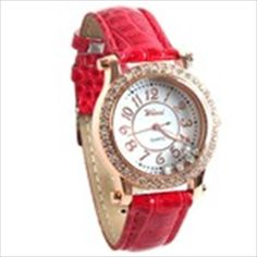 Golden Toned Quartz PU Leather Wrist Watch Analog Watch Round Case Timepiece with Rhinestones for Woman Lady - Red