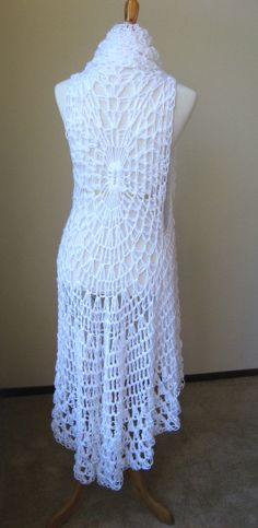WHITE CROCHET VEST Fit Any Size Bohemian Boho by marianavail, $75.00
