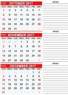 Calendar 2017 October November