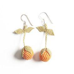 Oya-Ohrringe Orangen (Nadelspitze) Crochet Earrings, Drop Earrings, Jewelry, Fashion, Fashion Styles, Accessories, Silver, Handarbeit, Moda