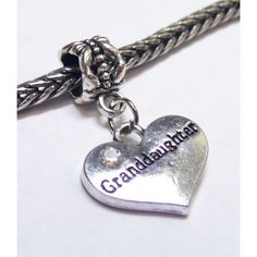 Dangle Heart Charm | Heart Charm w/ Crystal | Granddaughter | Fits Most Charm Bracelets
