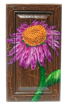 Coneflower flower acrylic painting on salvaged upcycled oak wood door, wall hanging on Etsy, $75.00