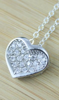 Silver heart necklace Sterling silver heart