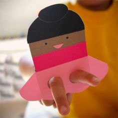 Ninja and Ballerina Paper Finger Puppets. Free template pdf.