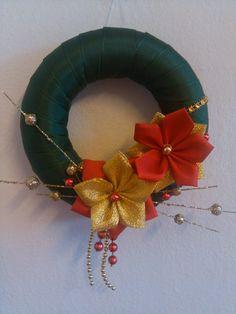 zeleno- červeno-zlatý venček christmas 2014