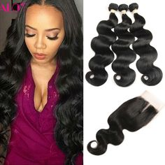 8A Brazilian Virgin Hair With Closure Brazilian Body Wave Human Hair With Closure Ali Queen Hair Products With Closure Bundle