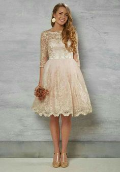 Special Occasion Dresses - Gilded Grace Lace Dress in Blush Bridal Dresses, Wedding Gowns, Bridesmaid Dresses, Wedding Bride, Backless Wedding, 50s Style Wedding Dress, Short Lace Wedding Dress, Lace Weddings, Gold Wedding