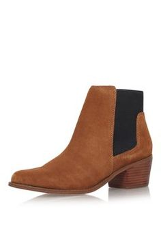 **Spider Tan Low Heel Ankle Boots by Miss kG