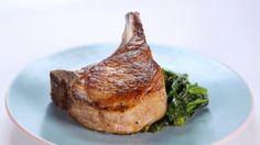 Skillet Pork Chops with Broccoli Rabe