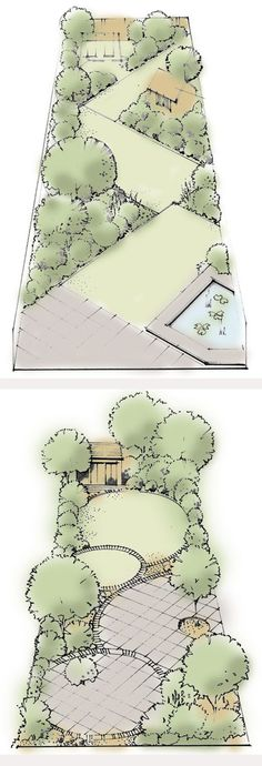 Use rectangles to create a zig-zag plot: A series of rectangular lawns or any other ground cover or paving of your choosing - pebbles, decking - are laid at right angles to each other. They traverse the garden, giving strong direction. --- Curves add interest: A simple series of four circles, some paving, some lawn, on different levels create a practical easy maintained suburban garden