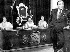 """Game show. In each episode five contestants came out with a story about why they should be Queen For a Day the audience decided which contestant should be the 'lucky' winner. Hosted by Jack Bailey. His """"Vanna White"""" was Jeanne Cagney, Jimmy's sister."""
