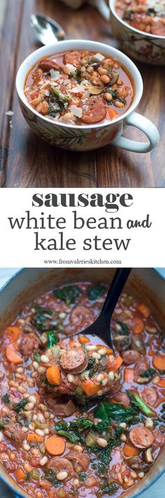 This rustic, comforting Sausage White Bean and Kale Stew is just the thing you need to warm you up on a chilly day. Wonderfully easy and delicious! ~ https://www.fromvalerieskitchen.com