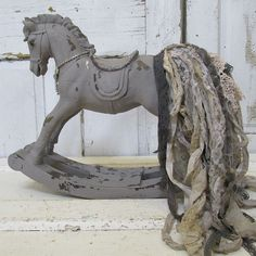 Painted horse statue smoky gray French by AnitaSperoDesign on Etsy
