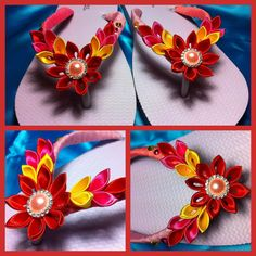 Kanzashi flowers on thongs in sunset colours flip flops.