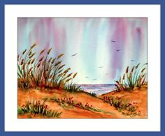 Watercolor Seascape from Martha Kisling Art With Heart Watercolor Paper, Watercolor Paintings, Beach Art, Painting Frames, Gouache, Watercolors, My Arts, Ocean, Hand Painted