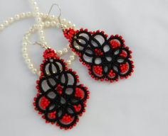 Black lace earrings with red seed beads by TattingLaceJewellery