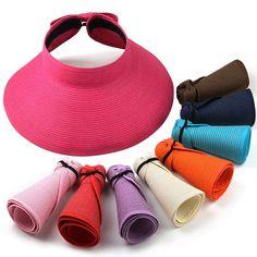 2015 Yeni Moda Kadınlar Lady Katlanabilir Roll Up Sun Beach Geniş Brim Straw Visor Hat Cap Ücretsiz Kargo