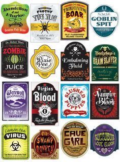 """heyoscarwilde: Illustrator Steven Silverwood's customized spooky beer labels that are bang on perfect for the next Harry Potter or Halloween themed party you are planning :: via stevensilverwood.bigcartel.com """" Halloweencrafts: These are no longer..."""