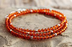 """baltic amber & sterling silver accent wrap bracelet, 6.75"""" wrist, healing protection energy, stacking bracelet, January and July birthstone"""