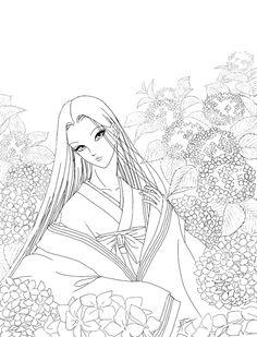 Kaguya Hime - Ajisai - lineart by aruarian-dancer.deviantart.com on @deviantART