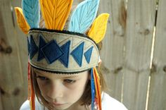 Native American Eco Felt Feather Headdress For Kids - Yellow, Blue