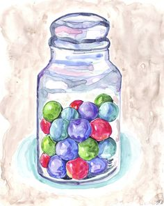 Items similar to Watercolor Painting - Candy Art - Gumballs in Jar Art - Watercolor Art Print, Wall Art, Candy Series no. 7 on Etsy Watercolor Cards, Watercolor Paintings, Watercolours, Mason Jar Photo, Mason Jars, Pop Art Food, Bottle Drawing, Pots, Isometric Art
