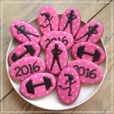 Bootcamp cookies Runner, dumbell and the Ladies Bootcamp logo on a cookie